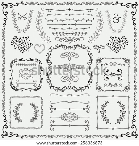Hand Drawn Doodle Design Elements. Vector Illustration. Frames, Borders, Brackets, Branches - stock vector