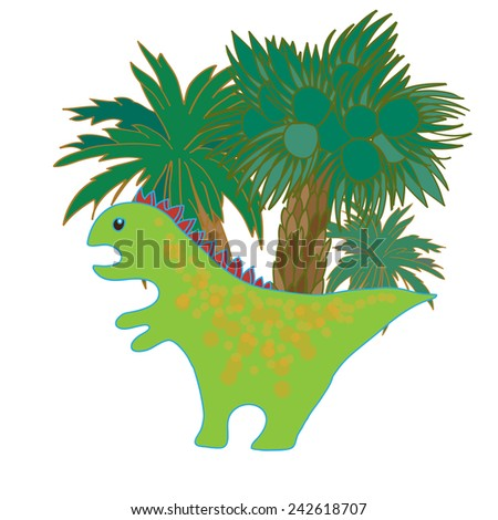 Hand drawn doodle dinosaur with palm trees on background. Vector illustration. - stock vector