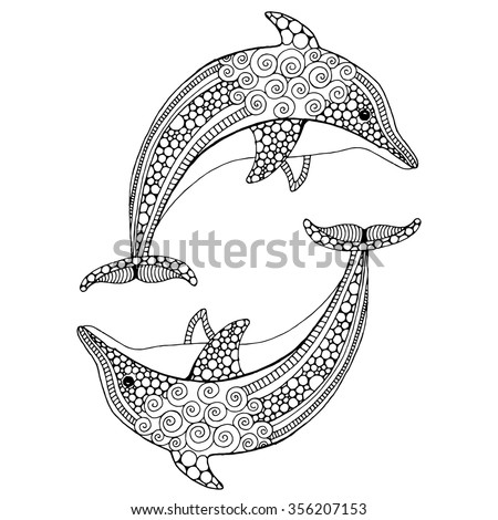 Hand drawn doodle dolphin pair - stock vector