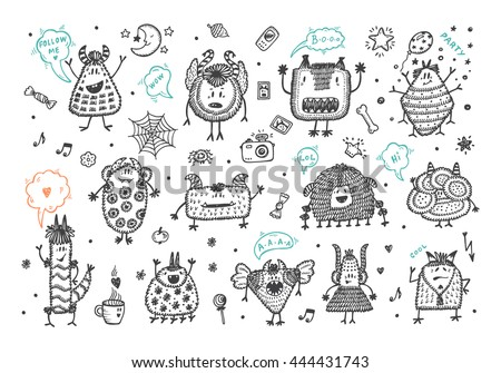 Hand Drawn Doodle Fictional Fabulous Creatures Characters for Kids. Cute Cartoon Monsters or Aliens Vector Set. - stock vector