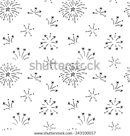 Hand drawn doodle fireworks. Seamless pattern for your holiday design. - stock vector