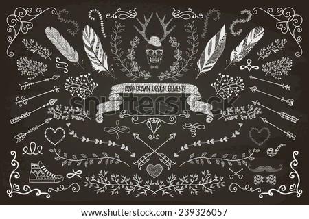 Hand-Drawn Doodle Floral Design Elements. Decorative Flourish Brackets, Wreaths, Laurels. Chalk Drawing Vector Illustration. - stock vector