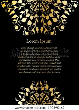 Hand drawn doodle floral ornamental background blank in black and golden colors. - stock vector