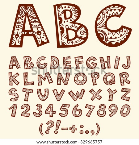 Hand drawn doodle folkloric ornamental alphabet with numbers. - stock vector