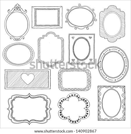 Hand drawn doodle frame set - stock vector