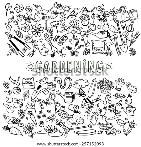 hand drawn doodle garden icons, vector background - stock vector