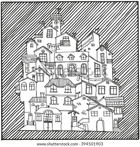 Hand drawn doodle houses in black and white.  Adult coloring page. Zentangle coloring book. Vector Illustration. - stock vector