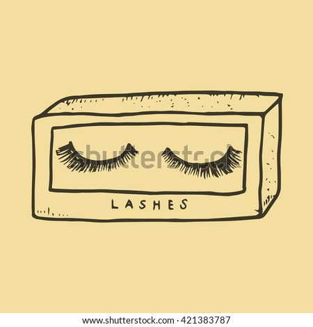 Hand Drawn Doodle Icons of Eyelashes Illustrations design for beauty,fashion and cosmetic concept - stock vector