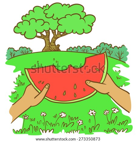 Hand-drawn doodle illustration with summer landscape and watermelon - stock vector
