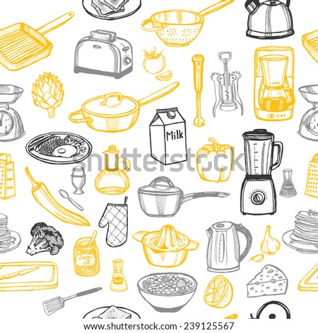 hand drawn doodle kitchen seamless pattern - stock vector