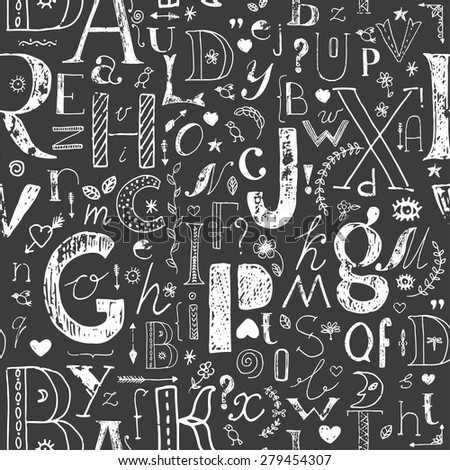 Hand drawn doodle letters and decorative elements seamless pattern. Vector background. White shabby sketch on black. - stock vector