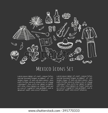 Hand drawn doodle Mexico set Vector illustration Sketchy mexican food icons United Mexican States elements Flag Maracas Sombrero Viva Mexico Maya Pyramid Aztec Tequila Agave Mariachi Poncho Guacamole - stock vector