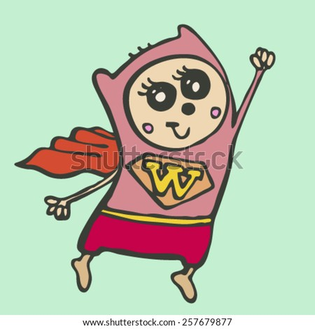 hand drawn doodle monster, stylized flying superhero woman with sign on chest, isolated design object, vector illustration - stock vector