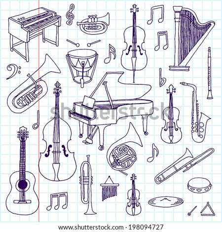 Hand drawn doodle musical instruments. Classical orchestra. Vector illustration. School notebook. - stock vector
