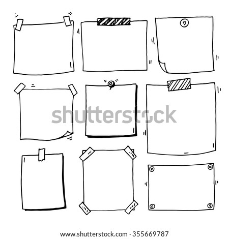Hand drawn doodle notepaper for messages set - stock vector