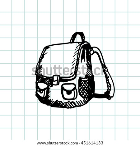 Hand drawn doodle schoolbag. Black pen outline, notebook background. Pupil, student,  school, education. - stock vector