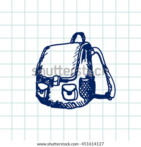 Hand drawn doodle schoolbag. Blue pen outline, notebook background. Pupil, student,  school, education. - stock vector