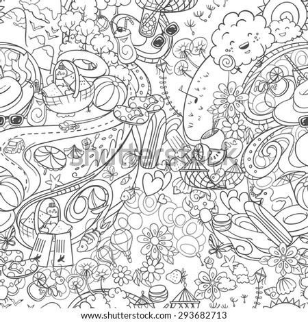 hand drawn doodle seamless background with summer time activities and elements - stock vector