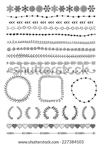 Hand-Drawn Doodle Seamless Borders and Design Elements. Decorative Flourish Frames, Brackets. Vector Illustration. Pattern Brushes - stock vector