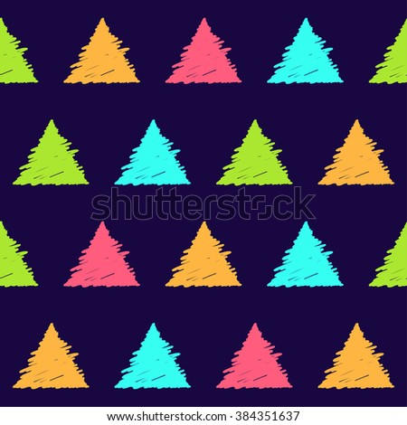 Hand drawn doodle seamless pattern background. Abstract geometric handmade triangle shapes isolated on stylish green cover for use in design  - stock vector