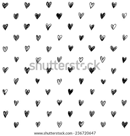 hand-drawn doodle seamless pattern with hearts - stock vector
