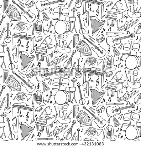 Hand drawn doodle seamless pattern with music instruments and objects - stock vector