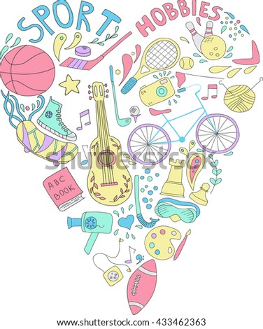 Hand drawn doodle set of hobbies and sport things. drawn in the shape of a heart. No background - stock vector