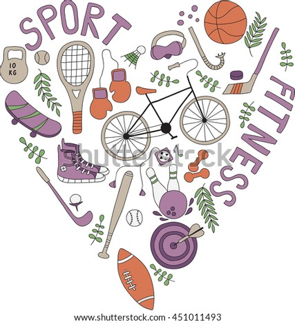 Hand-drawn doodle set of hobbies and sport things. drawn in the shape of a heart. No background - stock vector