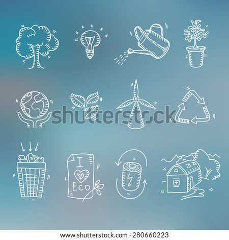 Hand drawn doodle sketch ecology organic icons eco and bio elements Blurred background Nature planet protection care recycling save concept. - stock vector