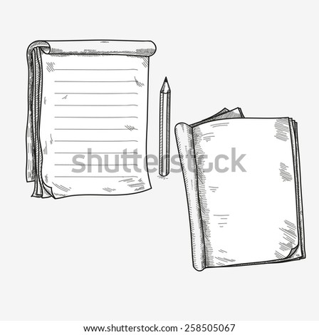 Hand drawn doodle sketch open notebook, clear page, template for notes memo notice comic book scrapbook sketchbook textbook. - stock vector