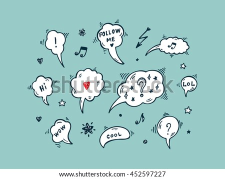 Hand Drawn doodle Speech and thought Bubbles Vector illustration - stock vector