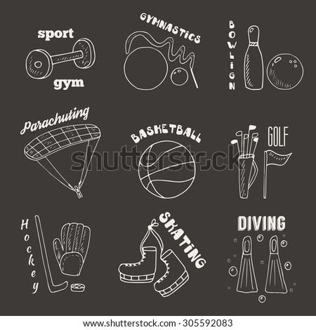 Hand drawn doodle sport games banners, icons, logotypes including gymnastics, bowling, parachuting, basketball, golf, hockey, skating, diving - stock vector