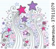 Hand-Drawn Doodle Stars on Lined Notebook Paper Vector Illustration - stock vector