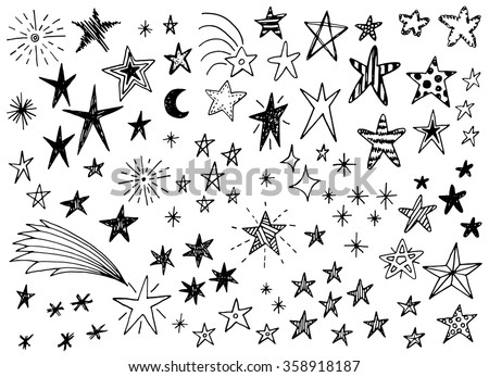Hand drawn doodle stars vector collection - stock vector