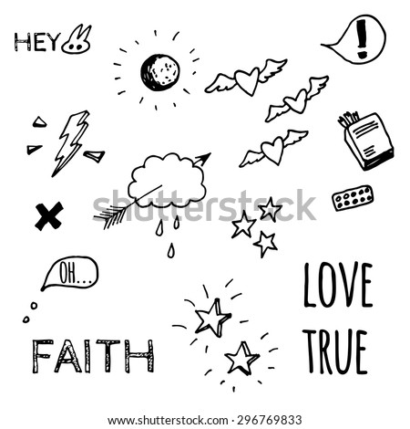 Hand drawn doodle style sketches on love theme. - stock vector