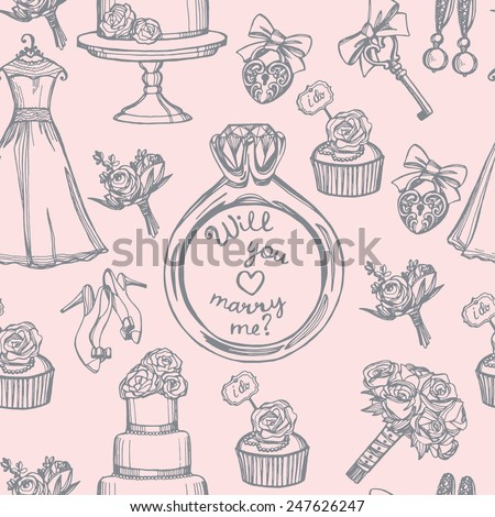 hand drawn doodle tender wedding seamless pattern. Marry me ring, wedding dress, wedding flowers, wedding cake, wedding shoes, vintage key and lock - stock vector