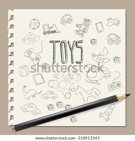 Hand-drawn doodle toys vector , pencil on note book background - stock vector