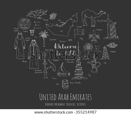 Hand drawn doodle UAE set Vector illustration Sketchy Emirati food icons United Arab Emirates elements, Flag Dubai Abu Dhabi Burj Al Arab Burj Khalifa Camel Oil Abaya Hijab Kandura Muslim Travel icons - stock vector