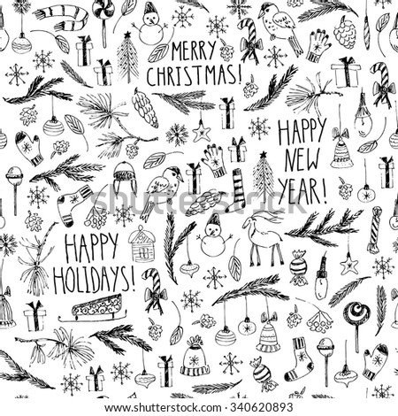 Hand drawn doodle vector illustration. Christmas line art black and white drawings. New year seamless pattern with Christmas tree, fir branches, ornaments, snowflakes, mittens, lettering, cones. - stock vector