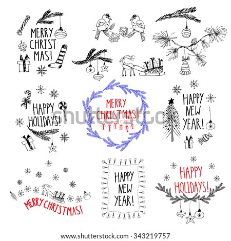 Hand drawn doodle vector illustration. Christmas line art black and white drawings. Set of compositions for gift tags, labels, new year cards or invitations. - stock vector