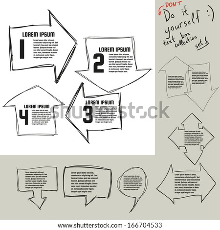 Hand drawn doodle vector text box collection. Vector eps10. - stock vector