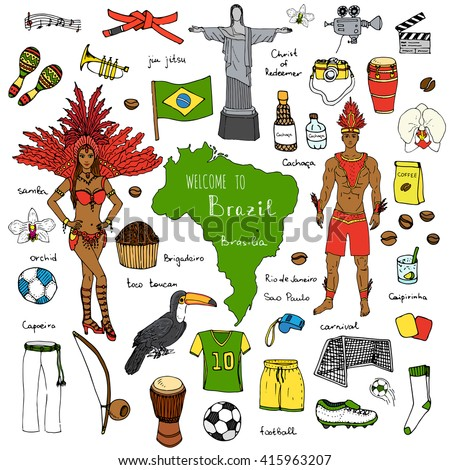 Hand drawn doodle Welcome to Brazil set. Vector illustration Sketchy Brazilian traditional icons Cartoon national typical elements collection Landmark Football ball cleats goal Capoeira Samba Orchid - stock vector