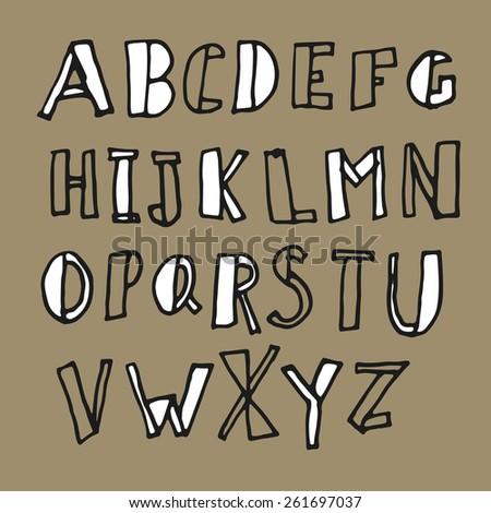 Hand-drawn Doodles Alphabet - stock vector