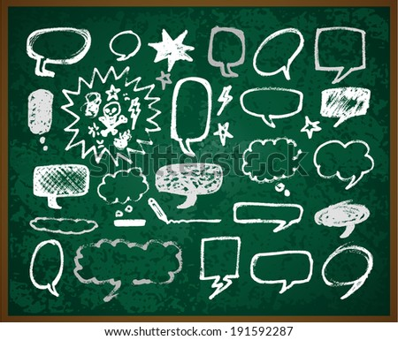 hand-drawn doodles illustration on green school board - stock vector