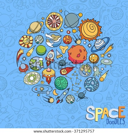 hand drawn doodles of planets ans space objects - stock vector