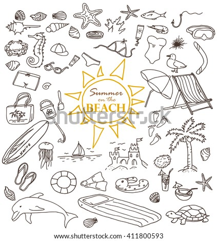 Hand-drawn doodles of the summer on the beach objects: water, beach, surfing, cream, swimming, cap, crab, jellyfish, dolphin. Line art summer illustrations. Collection of summer beach icons - stock vector