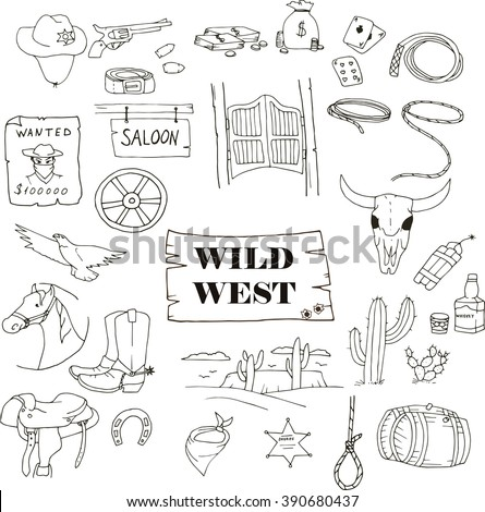 Hand-drawn doodles of the wild west objects: revolver, cowboy, money, horse, dynamite, lasso, sheriff, desert, landscape, cactus, alcohol, wanted, eagle, wheel, saloon. Line art illustrations. - stock vector