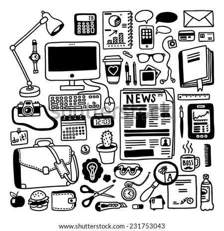 hand-drawn doodles office objects set - stock vector