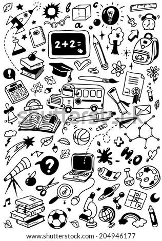 "hand-drawn doodles set ""back to school"" - stock vector"