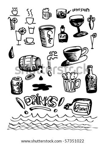hand drawn drink symbols - stock vector